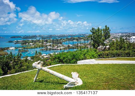 A scenic view from Gibbs Hill looking over Bermuda.