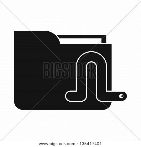 Computer worm icon in simple style isolated on white background