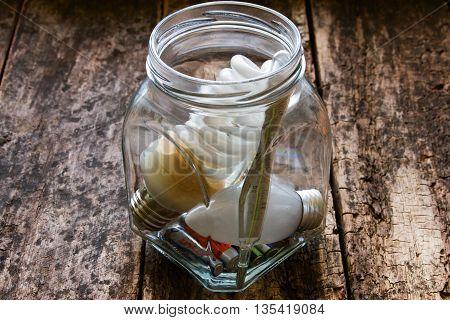 glass jar to collect hazardous waste closeup