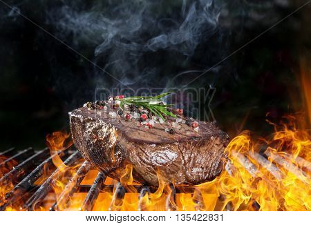 Delicious grilled beef steak on a barbecue grill, close-up.