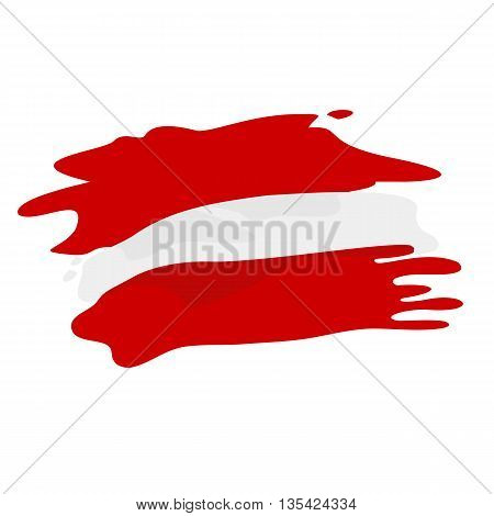 Vector flag of Austria. Flag of Austria in pseudo watercolor style isolated on white background.