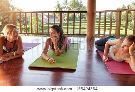 Female Friends During Yoga Class Break