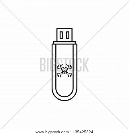Infected USB flash drive icon in outline style isolated on white background