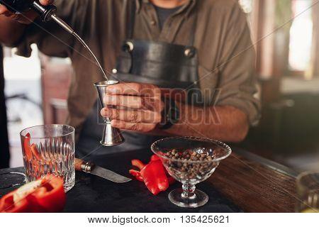 Barman Preparing Exotic Cocktail