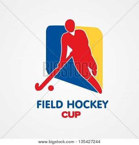 Field hockey cup logo. Vector sport badge with man silhouette and stick
