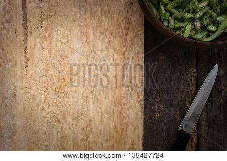 Stil Life Yardlong Bean Slice On Chopping Board Wood.