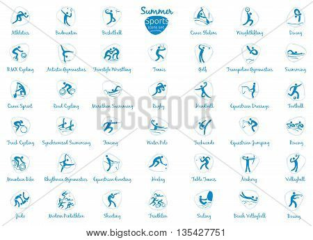 Summer sports icons set, vector pictograms for web, print and other projects. All 41 of species of events