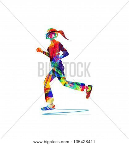 abstract vector illustration of woman running on white