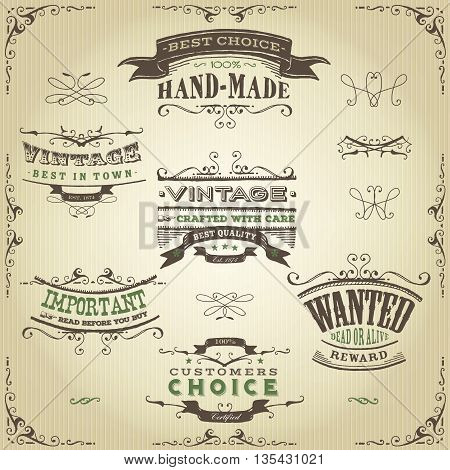 Illustration of a set of hand drawn western like sketched banners floral patterns ribbons and far west design elements on vintage kraft paper background