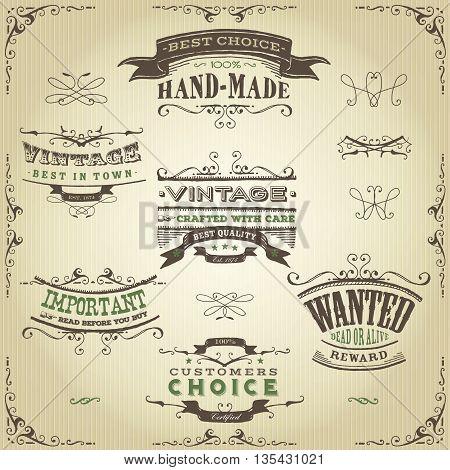 Illustration of a set of hand drawn western like sketched banners floral patterns ribbons and far west design elements on vintage kraft paper background