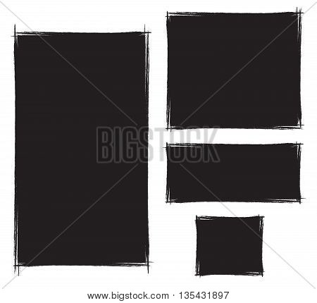 set of vector brush strokes grunge frame set isolated borders black boxes