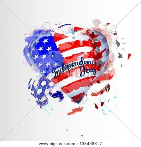 American Flag heart shaped for Independence Day design 4 july. Vector illustration.