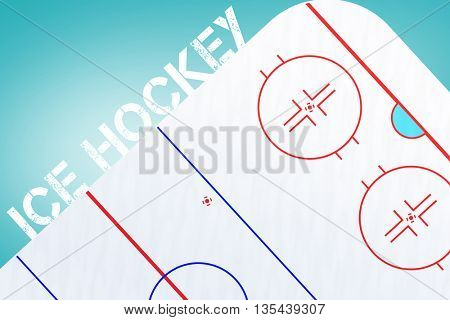 Ice hockey message on a white background against blue vignette background