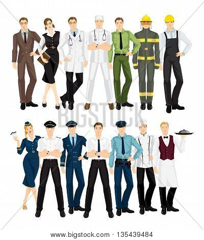Group of professional people in uniform. Teacher, librarian, doctor, surgeon, military man, firefighter, worker, stewardess, pilot, businessman, police officer, cook chef, waiter.