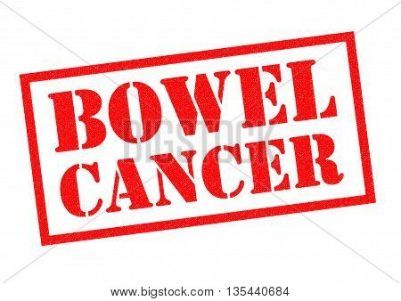 BOWEL CANCER red Rubber Stamp over a white background.