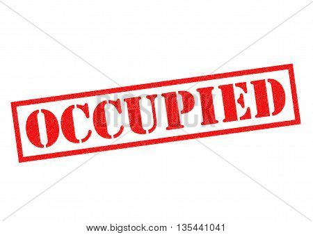 OCCUPIED red Rubber Stamp over a white background.