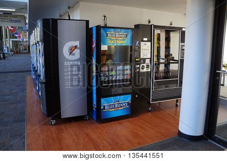 JOLIET, ILLINOIS / UNITED STATES - OCTOBER 25, 2015: One may buy Blue Bunny ice cream, plus various snacks and soft drinks, from vending machines in the hallway at Joliet Junior College.