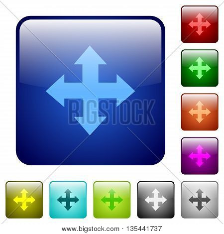 Set of move color glass rounded square buttons