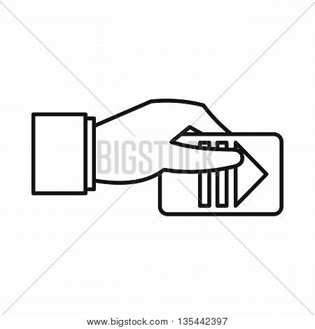 Hand with parking ticket icon in outline style isolated on white background
