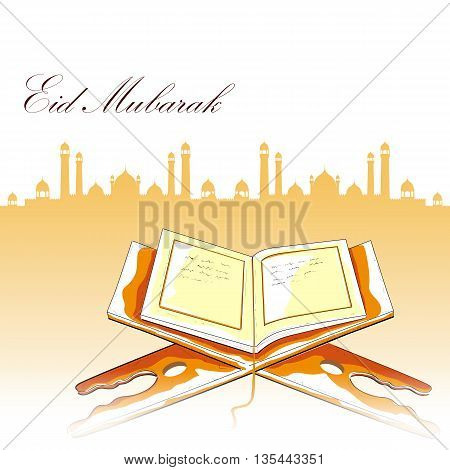 easy to edit vector illustration of holy book Koran in Happy Eid background
