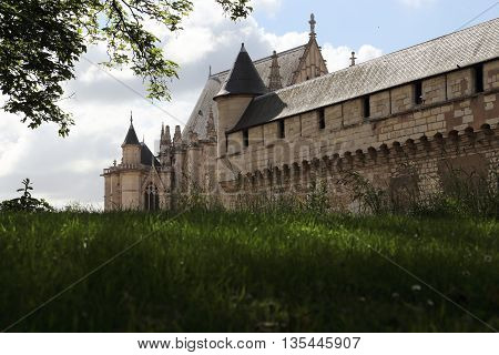 PARIS, FRANCE - MAY 15, 2015: This is part of the fortress walls and the chapel of the castle of Vincennes.