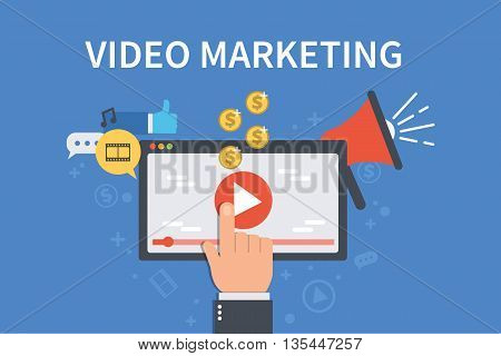 Video marketing concept banner. Vector flat illustration for web banner infographics hero images.