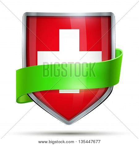 Shield with flag Suisse and ribbon. Editable Vector Illustration isolated on white background.