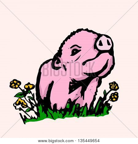 The graphic image of a little pig. Abstract drawing of a cute Piglet in color. Vector illustration
