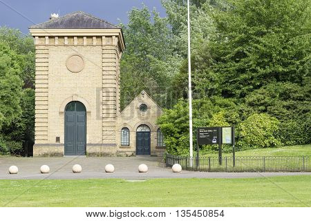 London England - May 22 2016: View of the Pump House Gallery in the Battersea Park in London England.