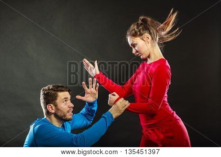 Woman Wife Abusing Scared Man Husband. Violence.