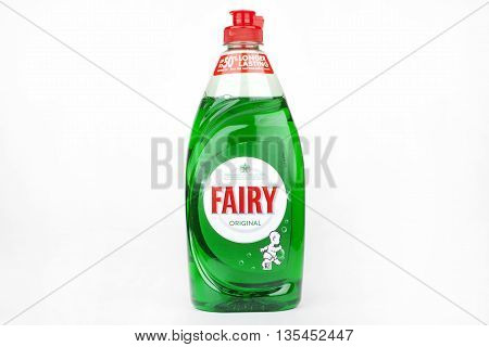 LONDON UK - JUNE 16TH 2016: A close-up of the logo for original Fairy Liquid over a plain white background on 16th June 2016. The product is produced by American company Proctor and Gamble.