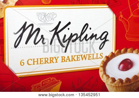 LONDON UK - JUNE 16TH 2016: Close-up of the Mr. Kipling logo on the packaging of one of their food products on 16th June 2016. The Mr. Kipling brand has been owned by Premier Foods since 2007.