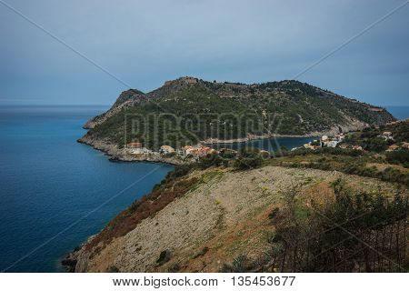 Scenic And Beautiful View To Asos City On Kefalonia, Greece