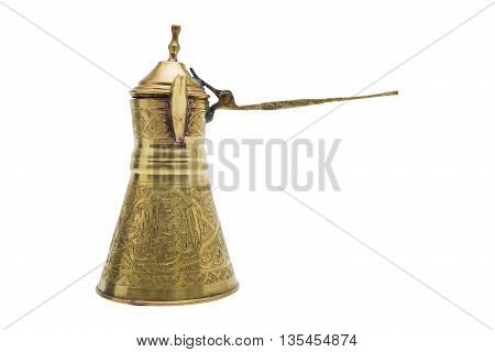 Antic gold engraved metal golden vessel with grip for tea or coffee with opening lid in oriental style on isolated background.