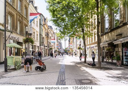 LUXEMBOURG, LUXEMBOURG - JUNE19, 2016:   Street at the Center Luxembourg City.