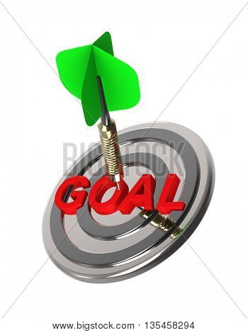 Dart hitting target. Hiting target goal concept. 3D illustration.