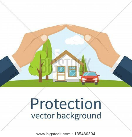 Concept security of property. Insurance home car money. Insurance agent holds in hand of house protection from danger providing security. Vector illustration flat design. Property insurance vector