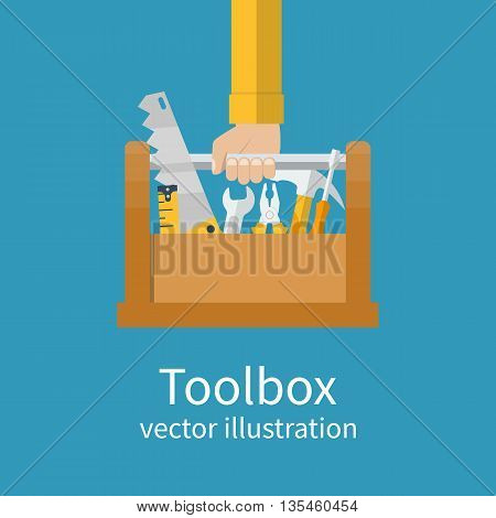 Toolbox with tools in hands of builder. Saw wrench screwdriver hammer tape measure pliers. Vector illustration flat design. Hand tools for repair and restoration
