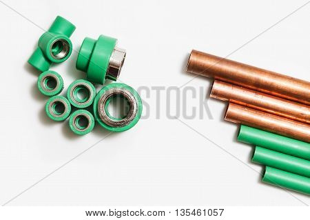 Polypropylene and copper pipes fittings and cutter