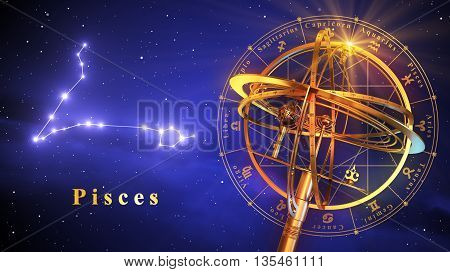 Armillary Sphere And Constellation Pisces Over Blue Background. 3D Illustration.