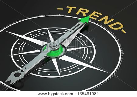 Trend compass concept 3D rendering on black background