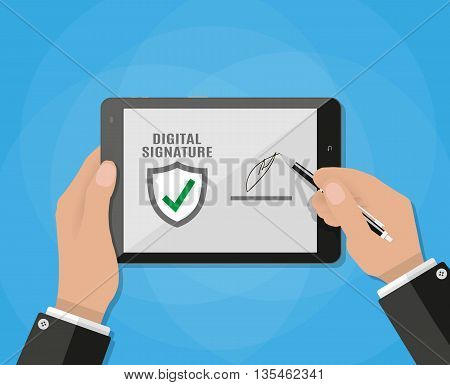 Businessman Hand Sign Digital Signature on tablet. vector illustration in flat design on blue background
