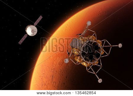 Spacecrafts Orbiting Red Planet Mars. 3D Illustration.