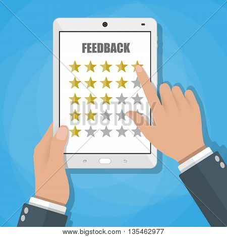 Hand holding and pointing ttablet touch screen with fife rate stars. Feedback form, Customer service. online review feedback concept. Vector illustration in flat style on blue background