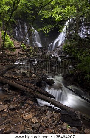 Beautiful flowing waters of the dual Soco Waterfall during spring in western North Carolina