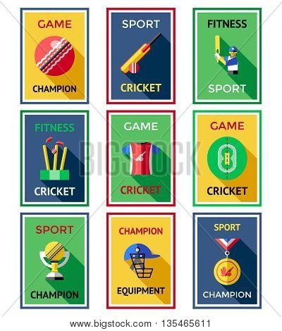 Cricket color labels poster set with headlines of game champion sport cricket fitness cricket sport champion vector illustration