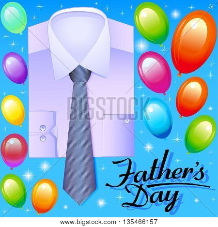 Illustration Card For Father's Day With Balloons Shirt And Tie