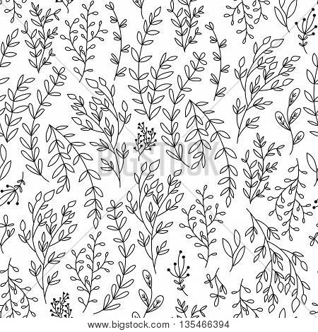 Seamless background with branches and leaves. Cute hand-drawn monochrome background for your design.Vektor illustration.