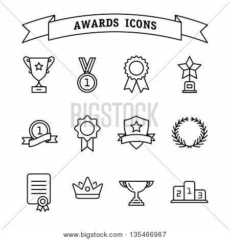 Set of trophy and awards icons isolated on a white background. Awards line icon