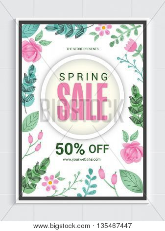 Stylish Spring Sale Flyer, Sale Banner, Sale Pamphlet, Discount upto 50% Off, Creative Sale Vector Illustration with colorful flowers.